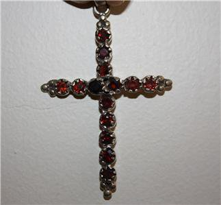 Graceful 925 Silver and Jewel Encrusted Cross
