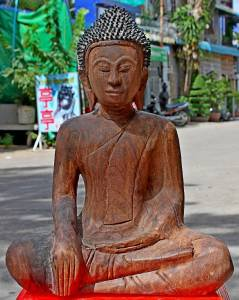 Asian Wooden Sitting Buddha #9