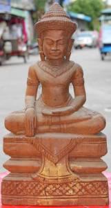 Asian Wooden Sitting Buddha #6