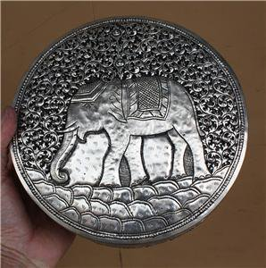 Asian Silver Round Elephant Box