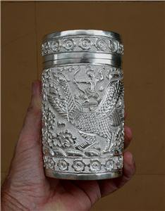 Asian Handcrafted Silver Container Pot