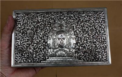 Asian Silver Square Buddha Box