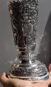 Asian Silver Vase Elephant Design