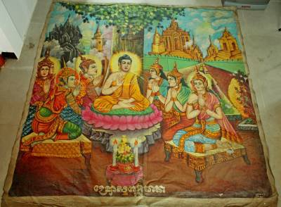 Antique Old Cambodian Khmer Buddhist Canvas Buddha Painting #15