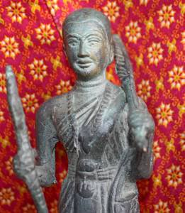 Old Asian Bronze Cambodian Man Holding A Cane