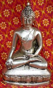 Old Asian Bronze Silver Plated Buddha
