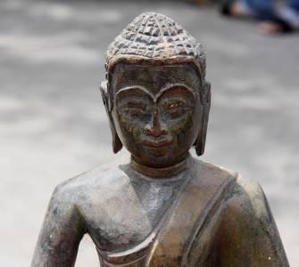 Asian Wooden Sitting Buddha