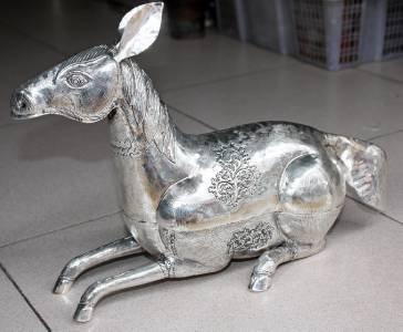 Beautiful Big Asian Silver Sitting Horse