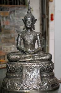 Antique Old Asian Silver Buddha #1