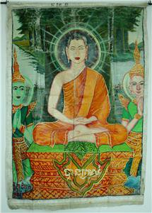 Antique Asian Original Old Cambodian Buddhist Oil Canvas Buddha Painting #9