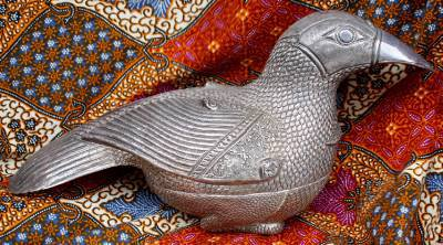 Asian Silver Beautifully Carved Bird Box #1