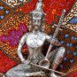 Old Asian Cambodian Khmer Silver Sitting Music Man Statue