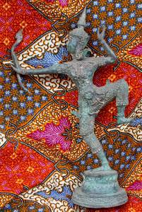 Old Asian Cambodian Khmer Bronze Archer Statue