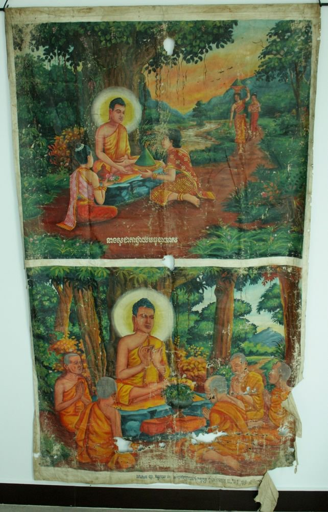 Antique Asian Original Cambodian Buddha Oil Painting Monks BA3