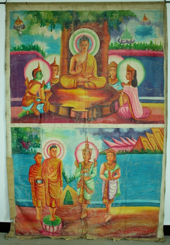 Antique Asian Original Cambodian Buddha Oil Painting Monks BA2