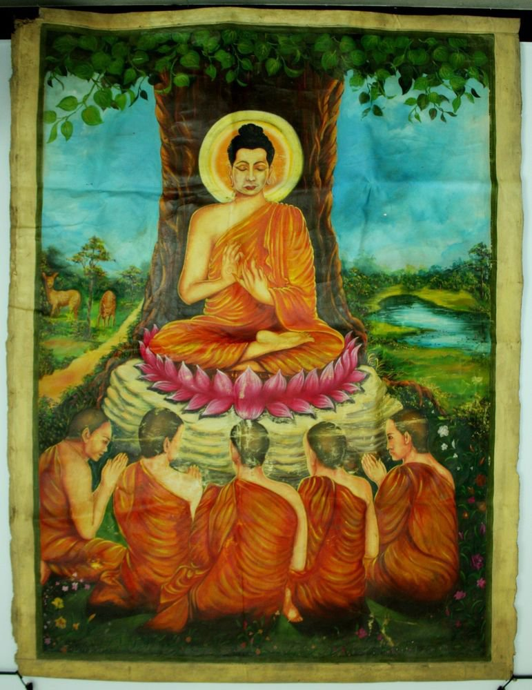 Antique Asian Original Cambodian Buddha Oil Painting Monks BA1
