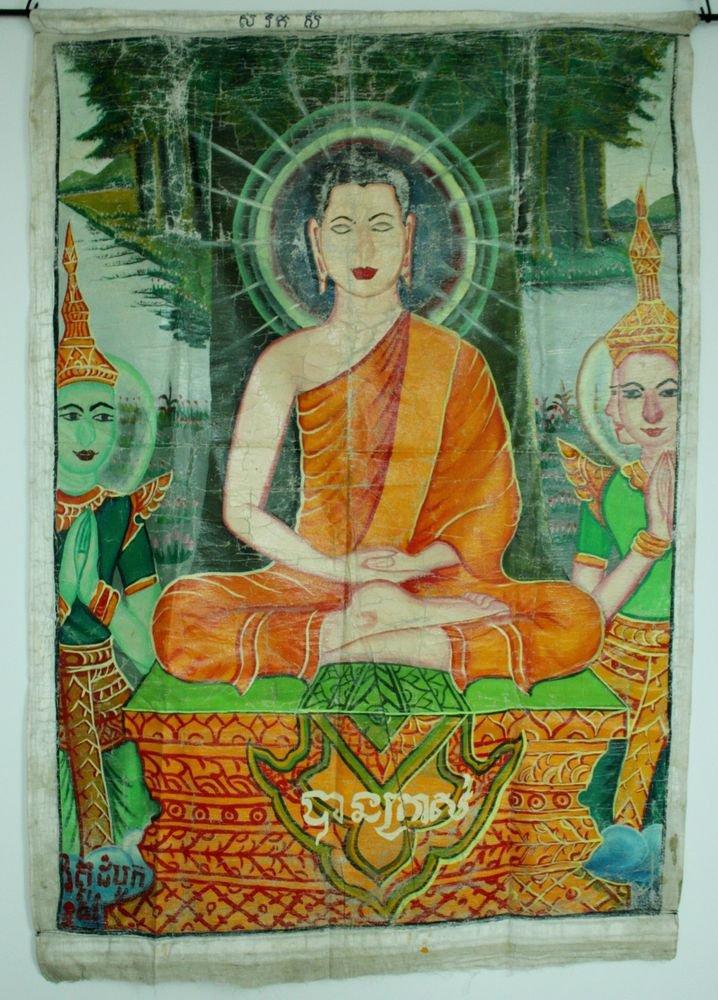 Antique Asian Original Cambodian Buddha Oil Painting Monks BA4