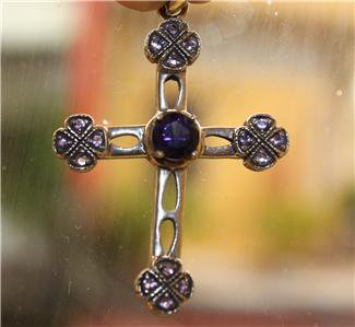 Elegant 925 Silver and Amethyst Encrusted Cross