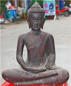 Asian Wooden Sitting Buddha #1