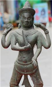 Old Asian Cambodian Bronze 4 Arm Statue #1