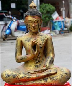 Asian Wooden Sitting Buddha #3