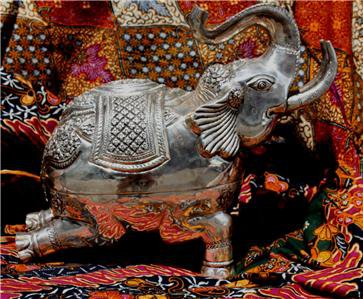 Asian Silver Squatting Elephant Statue