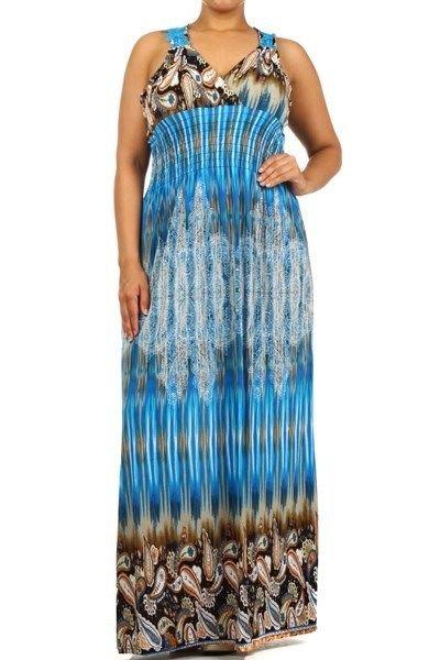 WOMENS BLUE PURPLE CRANBERRY PASLEY PRINT PLUS SIZE MAXI DRESS SIZE 2X 3X 4X