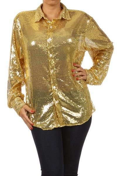 WOMENS GOLD PARTY CLUB SEQUIN BLOUSE SIZE 1X 2X
