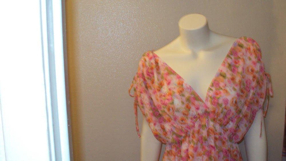 WOMENS PLUS SIZE MINI PINK FLORAL SUMMER BEACH DRESS SIZE 1X 2X 3X