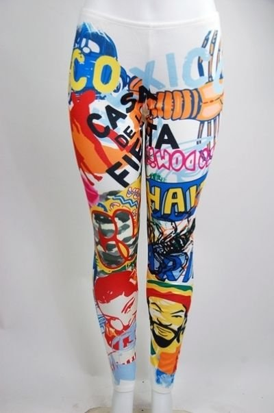 WOMENS PARTY CLUB SUBLIMATION PRINT PLUS SIZE LEGGINGS WITH GRAPHIC ART ON THEM