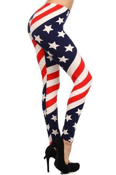 WOMENS AMERICAN FLAG RED WHITE BLUE LEGGINGS SIZE S M L