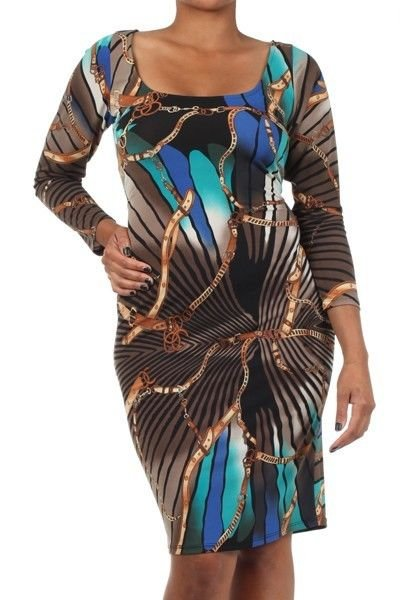 WOMENS PLUS SIZE BROWN BODYCON DRESS WITH A SQUARE NECK SIZE 1X 2X 3X