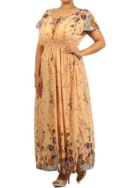 WOMANS PEACH FLORAL POLYESTER MOO MOO PLUS SIZE PRINT MAXI DRESS SIZE 2X 3X 4X