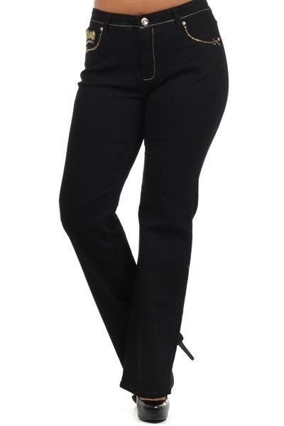 WOMENS PLUS SIZE JEANS WITH EMBRODERY ON THE POCKETS WITH RHINESTONES