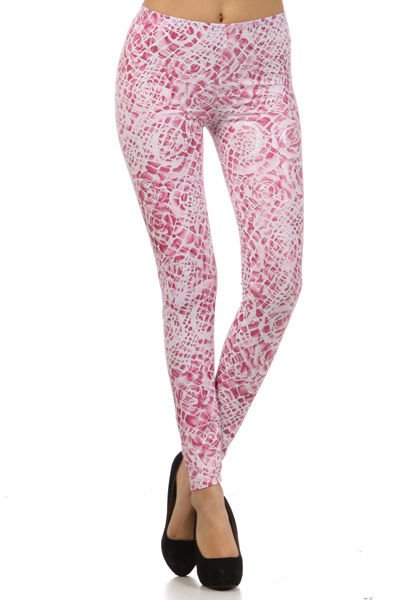 WOMENS CASUAL PINK ROSE LEGGINGS SPANDEX AND POLYESTER SIZE S M L