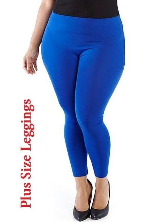 WOMENS BLUE PLUS SIZE CASUAL KNIT SPANDEX LEGGINGS SIZE 1X 2X 3X