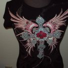 WOMENS CHRISTIAN COTTON BLACK JEWELED T-SHIRT S M L