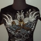 WOMENS BLACK COTTON STONE INCRESTED JEWELED T-SHIRT S M AND XL