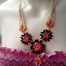 WOMENS FLORAL ORANGE AND BLACK WITH RHINESTONES VINTAGE
