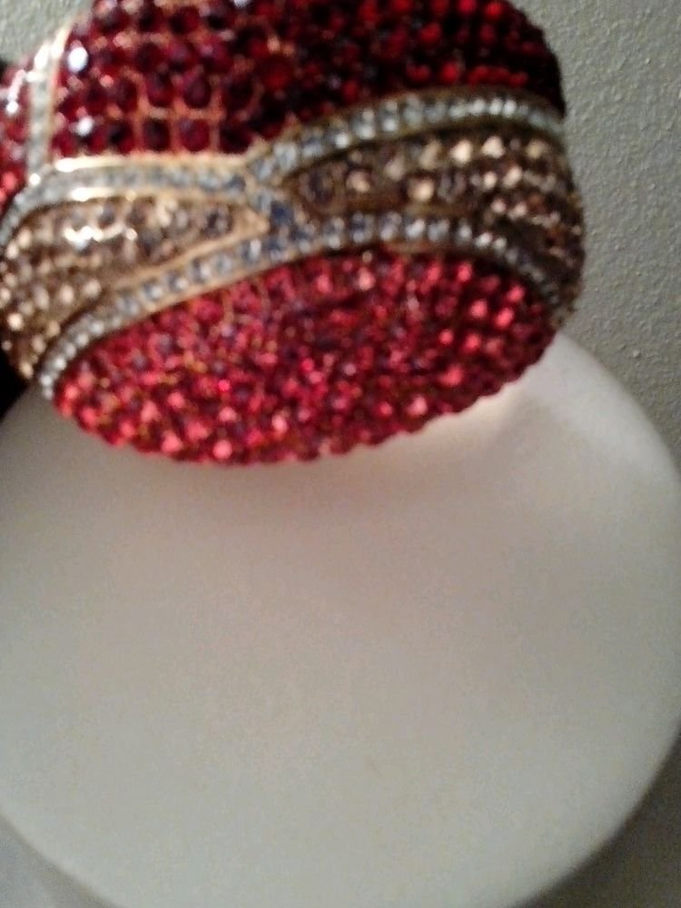 LOT OF 3 WOMENS GORGEOUS RHINESTONE BRACELETS GREEN RED YELLOW