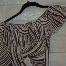 WOMENS CLUB PARTY BROWN TAN METALLIC BODYCON MINI DRESS SIZE S