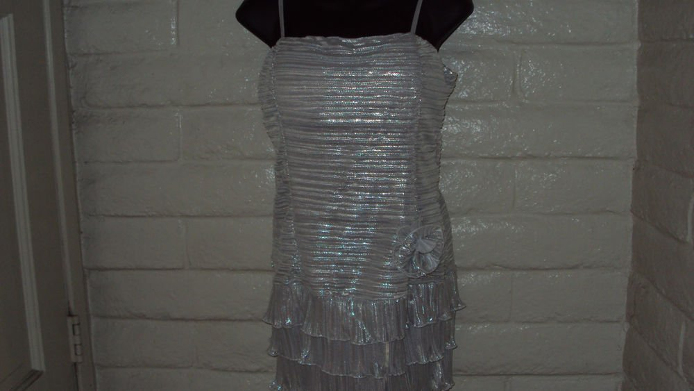 Silver Glitter Halter Party Dress
