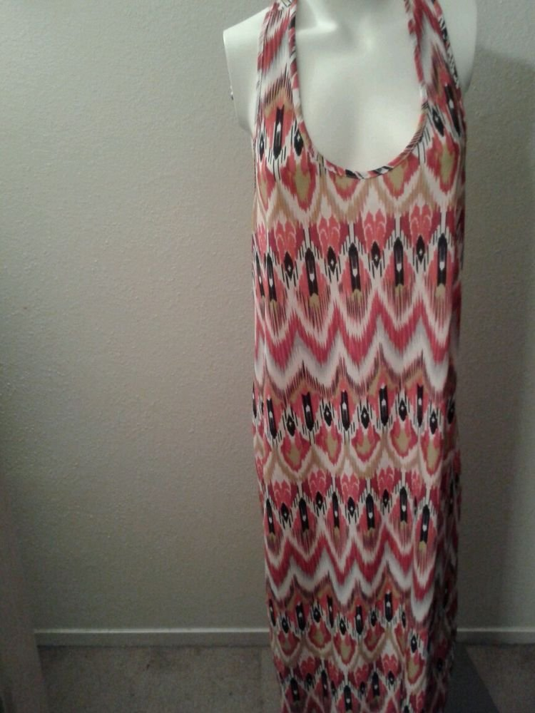 WOMENS PLUS SIZE PINK  MULTICOLOR SUMMER BEACH CASUAL MAXI DRESS SIZE 3X