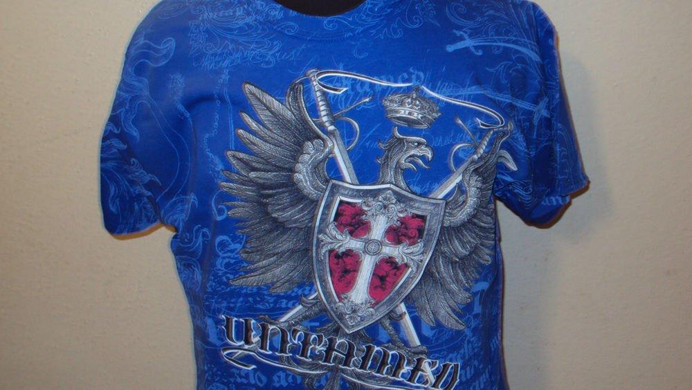 MENS BLUE COTTON GRAPHIC UNTAMED T-SHIRT SIZE M