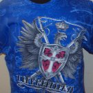 MENS BLUE COTTON GRAPHIC UNTAMED T-SHIRT SIZE M