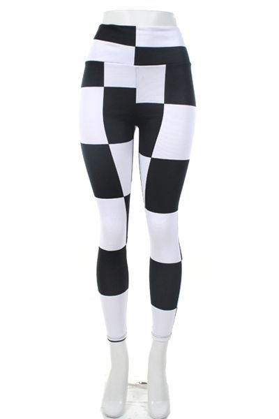WOMENS CHECKERD LYCRA SANDEX BLACK AND WHITE CASUAL LEGGINGS SIZE S M L