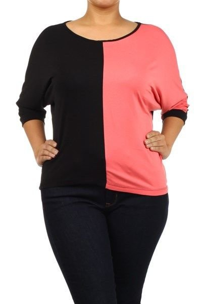 WOMENS CORAL BLACK WHITE  PLUS SIZE CASUAL BLOUSE SIZE 1X 2X 3X