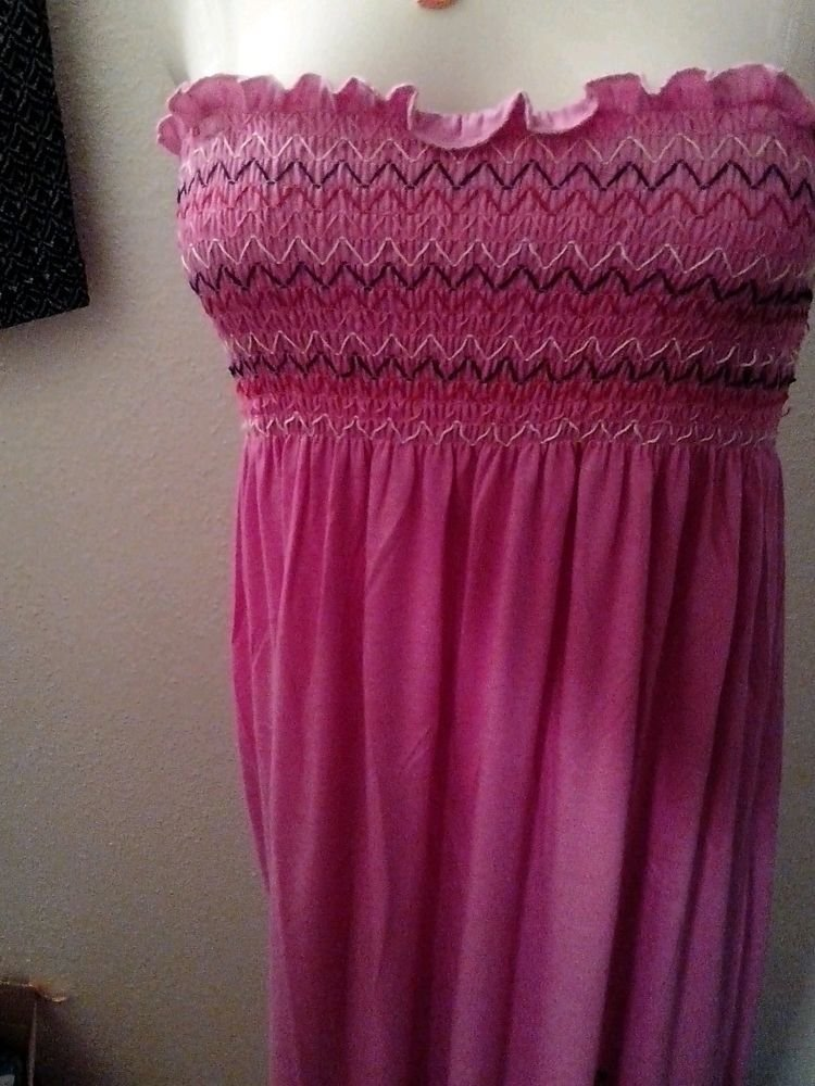 PINK PLUS SIZE POLYESTER RAYON SUMMER BEACH CASUAL HALTER  DRESS 1X
