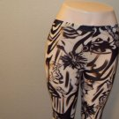 WOMENS BROWN BLACK WHITE FLORAL DESIGN CASUAL LEGGIGS SIZE S M L XL