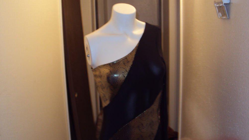 Party Mini Dress Black & Gold Size Small Medium Cocktail Club